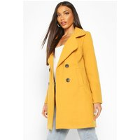 Womens Double Breasted Collared Wool Look Coat - Yellow - 12, Yellow