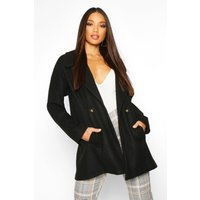 Womens Oversized Collared Wool Look Coat - black - 12, Black