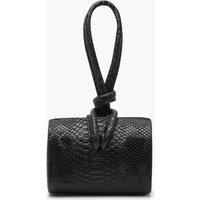 'Womens Snake Mini Knot Handle Clutch Bag - Black - One Size, Black