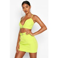 Womens Diamonte Buckle Detail Bralet - green - 6, Green