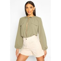 Womens Tie Neck Pocket Blouse - green - 10, Green