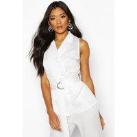 Womens Longline Satin Front Belted Blazer - white - 10, White