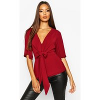 Womens Knot Front Woven Blouse - red - 14, Red