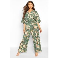 Womens Floral Batwing Jumpsuit - green - S, Green