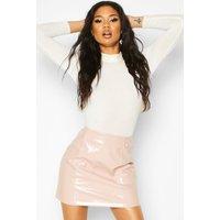 Womens Vinyl Button Detail Mini A Line Skirt - Beige - 10, Beige