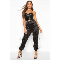 Womens Stretch Satin Cargo trousers - black - 10, Black