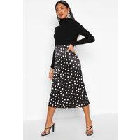 Womens Jacquard Satin Polka Dot Bias Midi Skirt - black - 16, Black