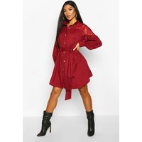 Womens Lace Insert Swing Shirt Dress - red - 10, Red