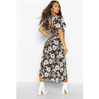 Womens Large Floral Flutter Sleeve Midaxi Dress - black - 14, Black