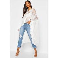 Womens Oversized Organza Maxi Shirt - White - 16, White