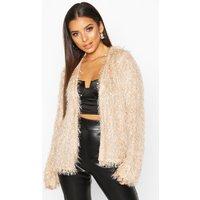 Womens Feather Knit Cardigan - beige - 10, Beige