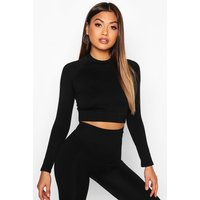 Womens Fit Seamless Knit Contrast Woman Active Crop Top - black - M, Black