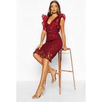 Womens Ruffle Sleeve Bodycon Midi Dress - red - 12, Red