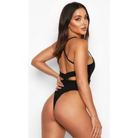 Womens Crepe Open Back Bodysuit - black - 14, Black