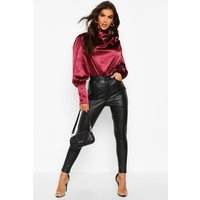 Womens Satin High Neck Oversized Blouse - red - 14, Red