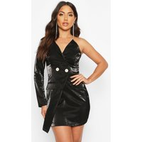 Womens Satin One Shoulder Blazer Dress - black - 8, Black