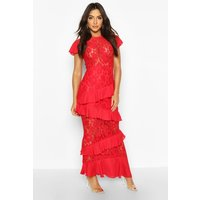 Womens All Over Lace Ruffle Maxi Dress - red - 10, Red