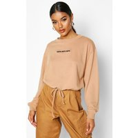 Womens Slogan Drawcord Crop Sweat - beige - 12, Beige