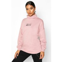 Womens Slogan Embroidered High Neck Sweat - purple - 12, Purple