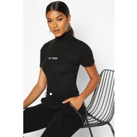 Womens Rib Slogan High Neck Cap Sleeve Top - black - 6, Black