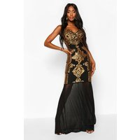 Womens Sequin Demask Plunge Mesh Fishtail Maxi Dress - Black - 6, Black