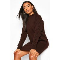 Womens Ruched Sleeve Sweatshirt Dress - brown - 12, Brown