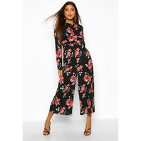Image of Womens Large Floral Knot Front Culotted Jumpsuit - red - 10, Red