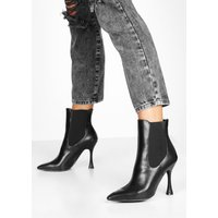 Womens Interest Heel Pointed Toe Chelsea Boots - black - 4, Black