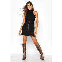 Womens Zip Through Pocket Front Cord Mini Skirt - black - 10, Black