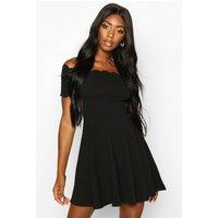 Womens Scallop Edge Bardot Skater Dress - black - 16, Black