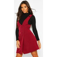 Womens Pocket Front Pinafore Dress - red - 10, Red