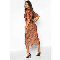 Womens Polka Dot Flutter Sleeve Open Back Dress - beige - 12, Beige
