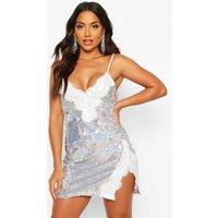 Womens Sequin Lace Mix Slip Mini Dress - grey - 10, Grey