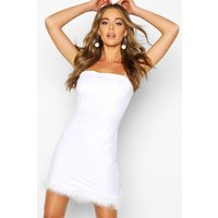 Womens Woven Feather Trim Mini Dress - white - 12, White