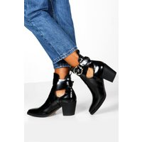 Womens Cut Out Buckle Strap Block Heel Western Boots - black - 4, Black