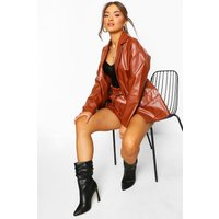 Womens Oversized Boyfriend Pu Blazer - brown - 14, Brown