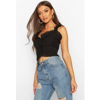 Womens Crinkle Ruffle Detail Lace Up Bralet Top - black - XL, Black