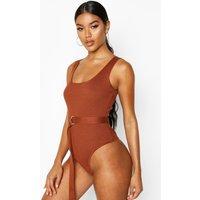 Womens Premium Rib Knit Belted Bodysuit - brown - 8, Brown