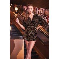 Womens Velvet Sequin Knot Front Shift Dress - Black - 12, Black