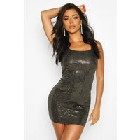 Womens All Over Sequin Square Neck Shift Dress - metallics - 12, Metallics