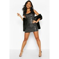 Womens All Over Sequin Square Neck Shift Dress - Grey - 10, Grey