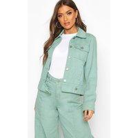 Womens Denim Trucker Jacket - green - 12, Green