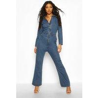 Womens Zip Detail Denim Boilersuit - blue - 8, Blue