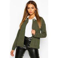 Womens Borg Collar Oversized Denim Jacket - green - 16, Green