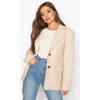 Womens Oversized Wool Look Blazer - beige - 12, Beige