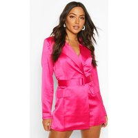 Womens Satin Tailored Wrap Front Blazer Playsuit - 14, Red