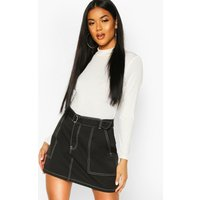 Womens Contrast Stitch Belted Mini Skirt - black - L, Black