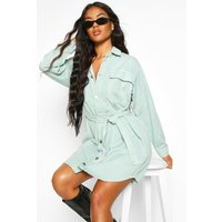 Womens Tie Pocket Front Utility Shirt Dress - blue - 12, Blue