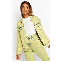 Womens Lime Acid Wash Denim Jacket - green - 10, Green