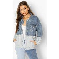 Womens Contrast Oversize Denim Jacket - blue - 14, Blue